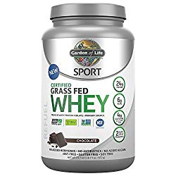 Tub of Garden of Life SPORT Certified Grass Fed Whey Protein Powder