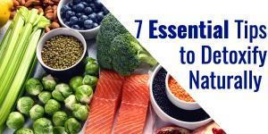 Table of foods good for detoxifying with such as blueberries, salmon, broccoli, and brussels sprouts