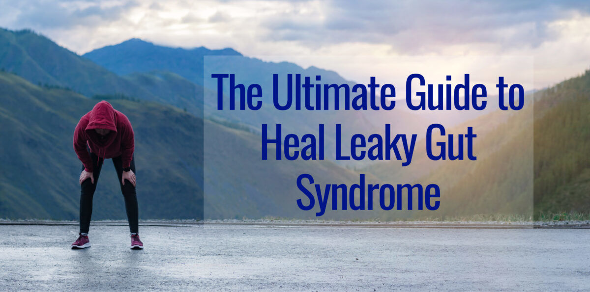 Runner bending over in fatigue from having a leaky gut.