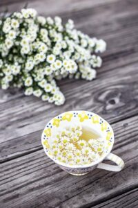 A cup of chamomile tea, a beverage that reduces stress