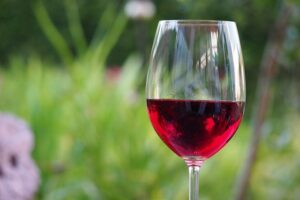 Glass of red wine to reduce stress.