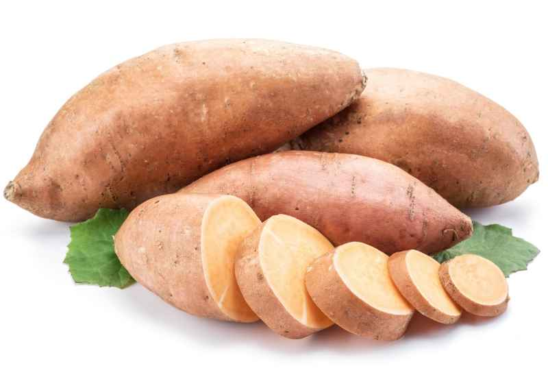 Sliced sweet potato ready to be added to a protein shake smoothie.