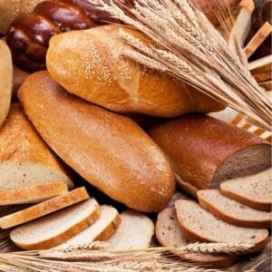 Picture of wheat and bread which are f oods that cause leaky gut syndrome