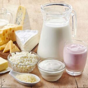 Group of dairy foods such as milk, yogurt, and cheese whjich are foods to avoid with leaky gut syndrome.